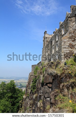 A view of part of Stirling Castle, Scotland, against a blue sky. - stock photo