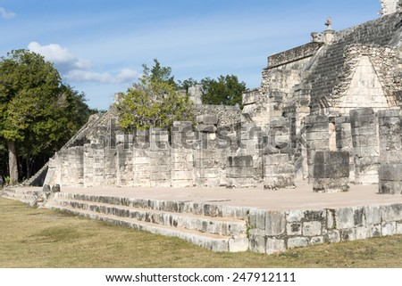 A view of part of the archaeological complex Chichen Itza, one of the most visited sites in Mexico. It is one of new 7 wonders in the world. - stock photo