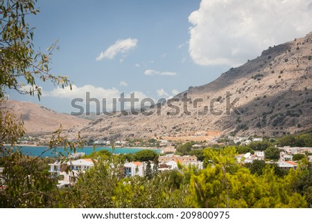 A view of Pefkos, Rhodes, Greece - stock photo