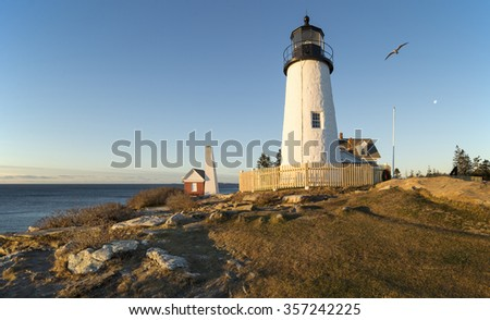 A view of Pemaquid Point Light in Bristol, Maine, USA.