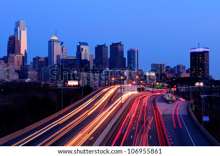 A view of Philadelphia; Pennsylvania�s cityscape overlooking the Schuylkill Expressway at night.  HDR from three exposures. - stock photo