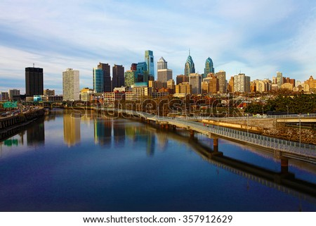 A view of Philadelphia, Pennsylvania skyline - stock photo