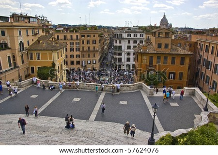 a view of piazza di spagna in rome - stock photo