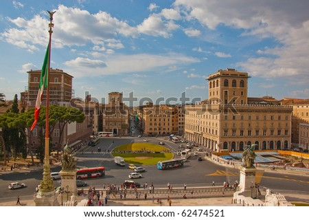 a view of Piazza Venezia in rome, italy - stock photo