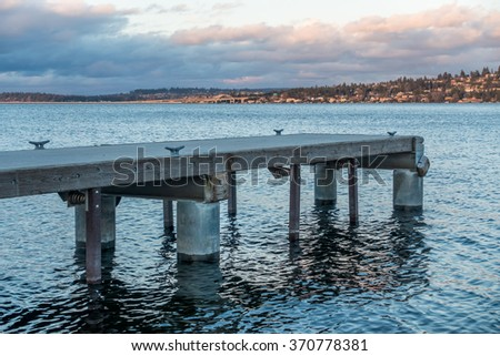 A view of piers on Lake Washington near Seattle at dusk.