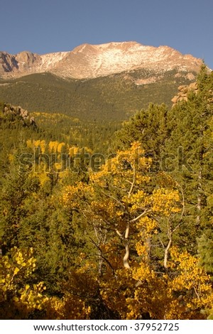 A view of Pikes Peak from the Barr Trail - stock photo