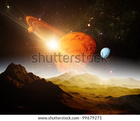 A view of planet and the universe from the moon's surface. Abstract illustration of distant regions. - stock photo