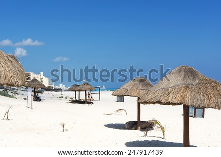 A view of Playa Delfines in Cancun, Yucatan, Mexico. - stock photo