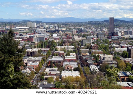 A view of Portland OR in Spring. - stock photo