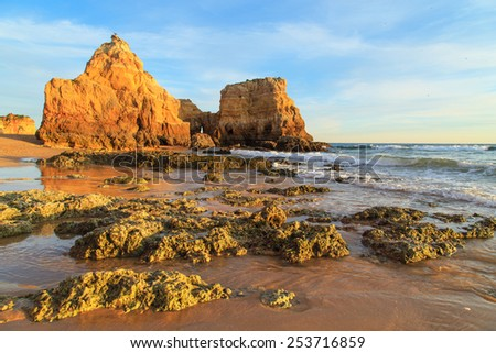 A view of Praia da Rocha in Portimao during the sunset, Portugal - stock photo