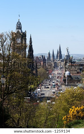 A view of Princes Street, the main thoroughfare of Edinburgh, the capital city of Scotland - stock photo