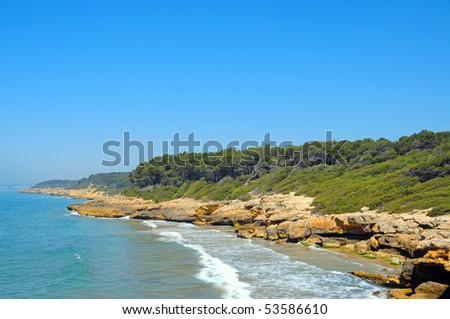 A view of Punta de la Mora beaches, in Tarragona, Spain - stock photo