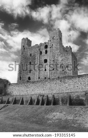 A view of Rochester Castle in Kent, England (black and white) - stock photo
