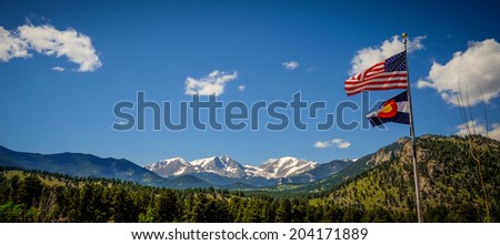 A view of Rocky Mountain National Park from the YMCA of the Rockies. - stock photo