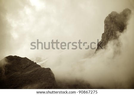 a  view of rocky pinnacles in the Pyrenees - stock photo