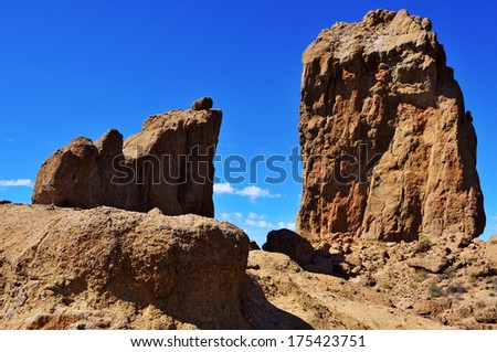 a view of Roque Nublo monolith in Gran Canaria, Spain - stock photo