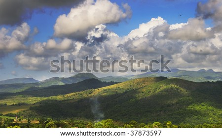 A view of rural tropical landscape with vegetation on cuban countryside - sierra del escambray - stock photo