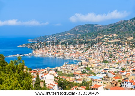 A view of Samos town which is located in beautiful bay on coast of Samos island, Greece - stock photo