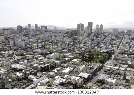 A view of San Francisco streets from above - stock photo
