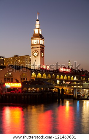 A View of San Francisco with ferry building at night - stock photo