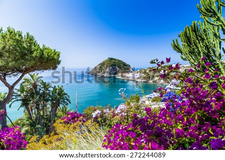 A view of Sant'Angelo in Ischia island in Italy: Tyrrhenian sea, bougainvillea glabra, rocks,  water, umbrella, sand and typical houses in the island in front of Naples, Campania region in a sunny day - stock photo