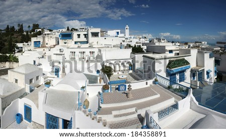 A view of Sidi Bou Said,Tunisia. Sidi Bou Said is a town in northern Tunisia known for the use of blue and white in it's architecture. - stock photo