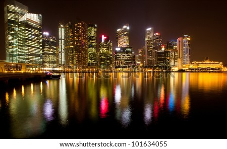 A view of Singapore business district Marina Bay in the night time