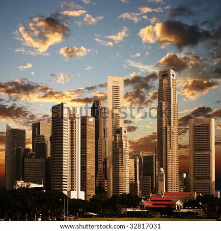 A View of Singapore City - stock photo