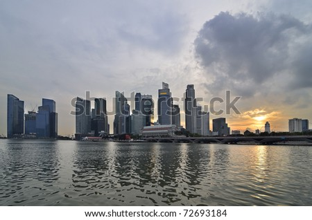 A view of Singapore skyline and river