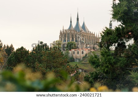 A view of St. Barbara's church in Kutna Hora, Czech Republic with copyspace - stock photo