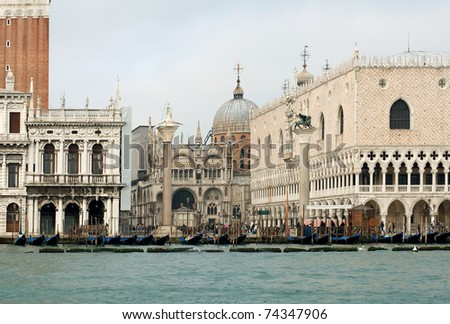 A view of St Mark's Square, from the Grand Canal, Italy, Venice - stock photo
