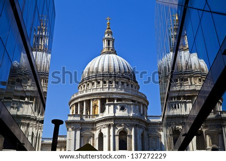 A view of St. Paul's Cathedral in London. - stock photo
