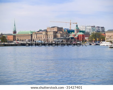 A view of Stockholm, Sweden from the sea