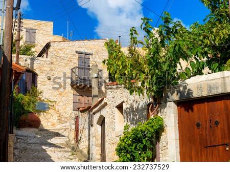 A view of street in Lofou village. Limassol District. Cyprus - stock photo