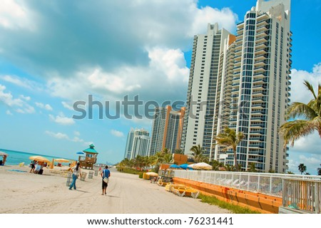 a view of sunny-island beach, Miami Beach, Florida, USA - stock photo