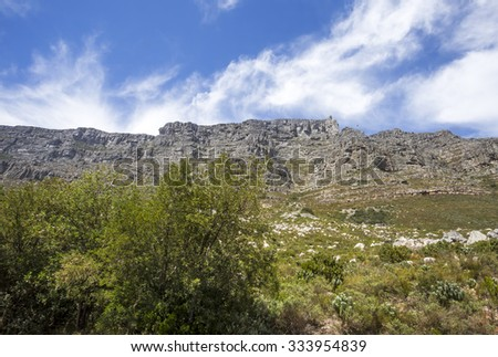 A view of Table Mountain. Cape Town, South Africa