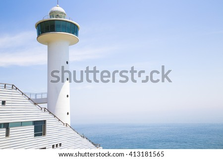 A view of Taejongdae lighthouse and sea in Busan, Korea