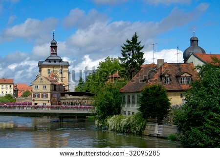 A view of the Altes Rathaus in Bamberg, Germany.