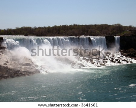 A view of the American Horseshoe Falls from Canada - stock photo