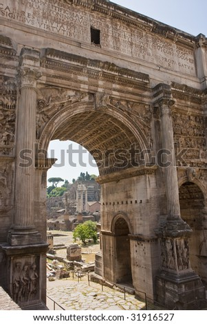 A view of the ancient forum in Rome through an archway