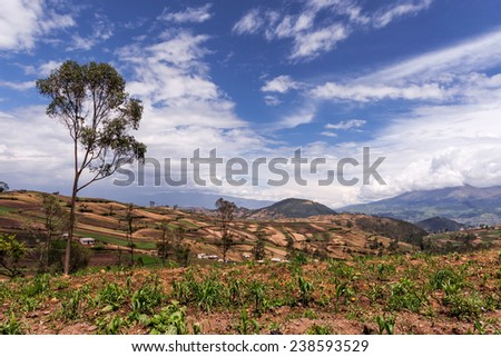 A view of the Andes mountains and farmlands somewhere on the road to Quito from Cuenca in Ecuador. - stock photo