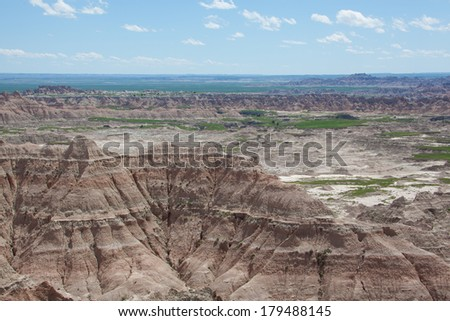 A view of the Badlands of South Dakota.
