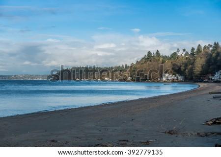 A view of the beach at Dash Point, Washington. - stock photo