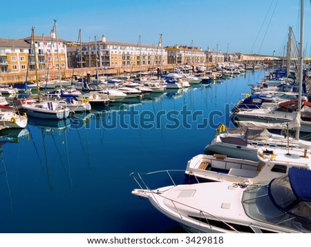 A view of the Brighton Marina, UK, in summer - stock photo