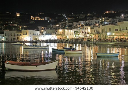 A view of the busy summer old port of Mykonos island, Greece - stock photo