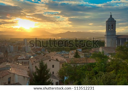 A View of the Cathedral Belltower in Girona, Spain - stock photo