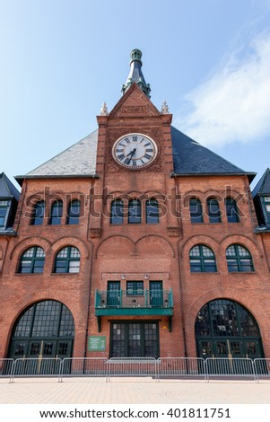 A view of the Central New Jersey Railroad Terminal building with clock tower at Liberty State Park. - stock photo