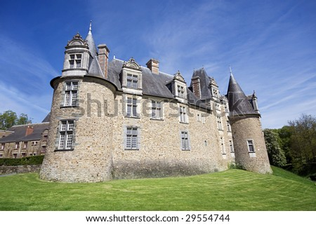 A View of the Chateau at Chateaubriant, Brittany, Northern France - stock photo