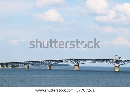 A view of the Chesapeake bay and George P Coleman bridge from Yorktown Virgina on the York River with room for your text - stock photo