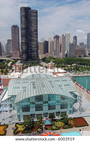 A view of the Chicago skyline as seen from the Navy Pier